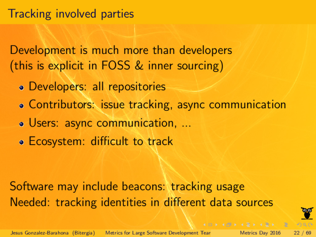 Tracking involved parties Development is much m...