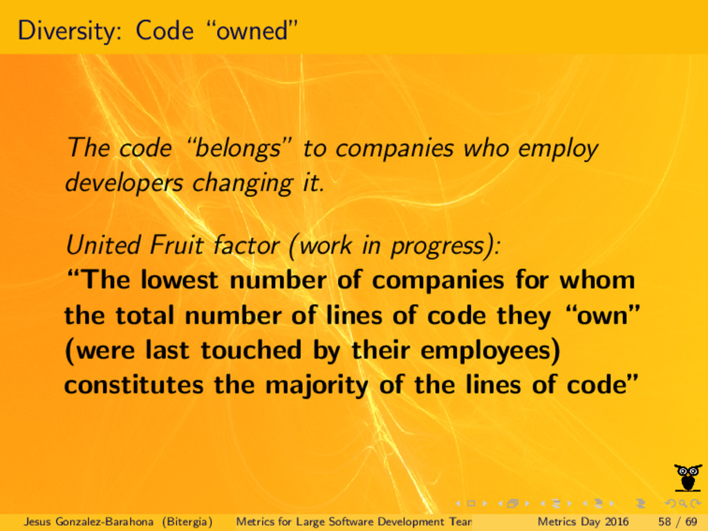 "Diversity: Code ""owned"" The code ""belongs"" to c..."