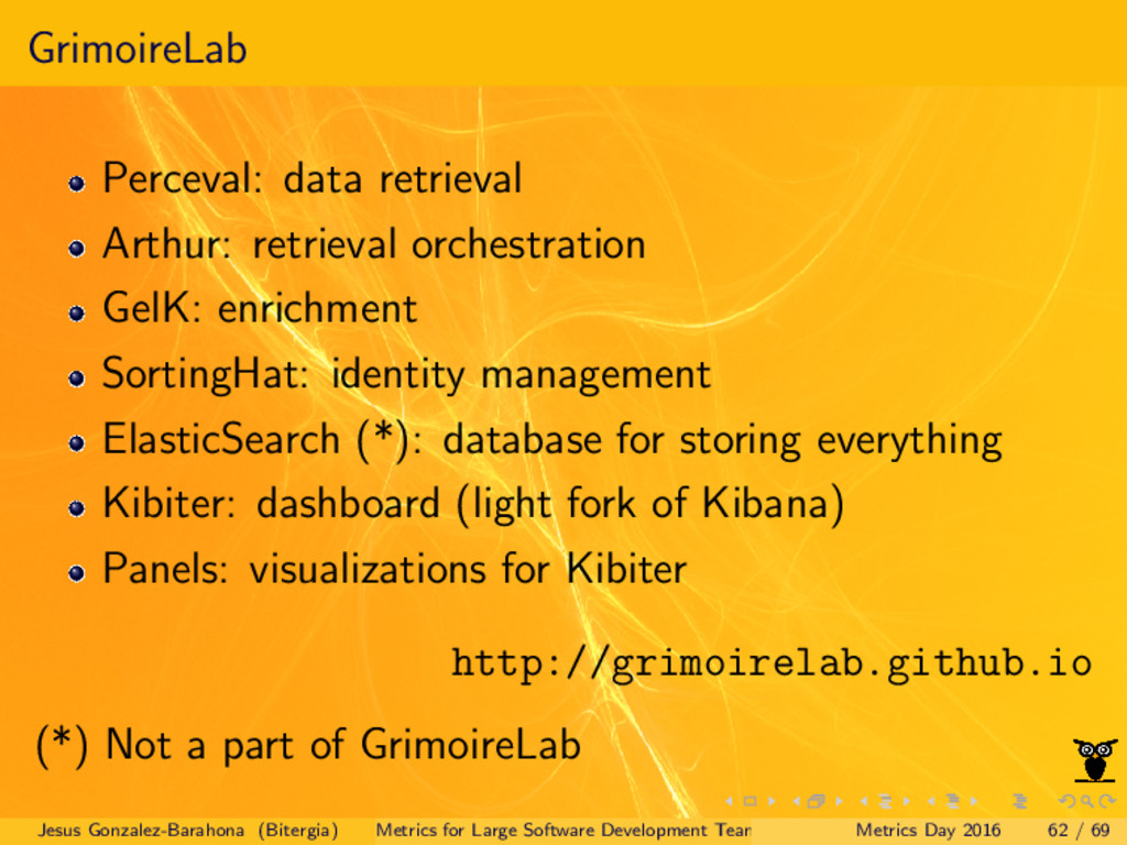 GrimoireLab Perceval: data retrieval Arthur: re...
