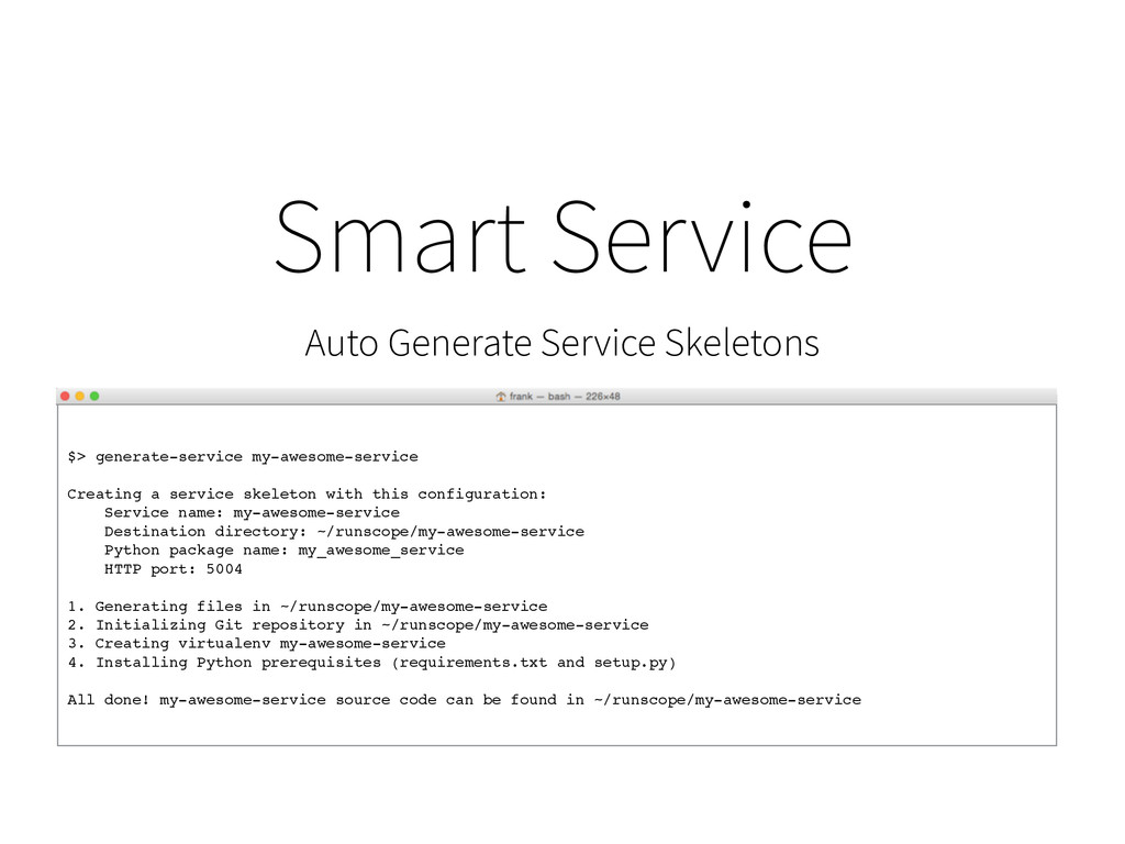 $> generate-service my-awesome-service Creating...