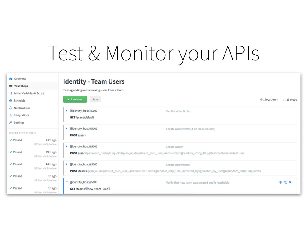 Test & Monitor your APIs