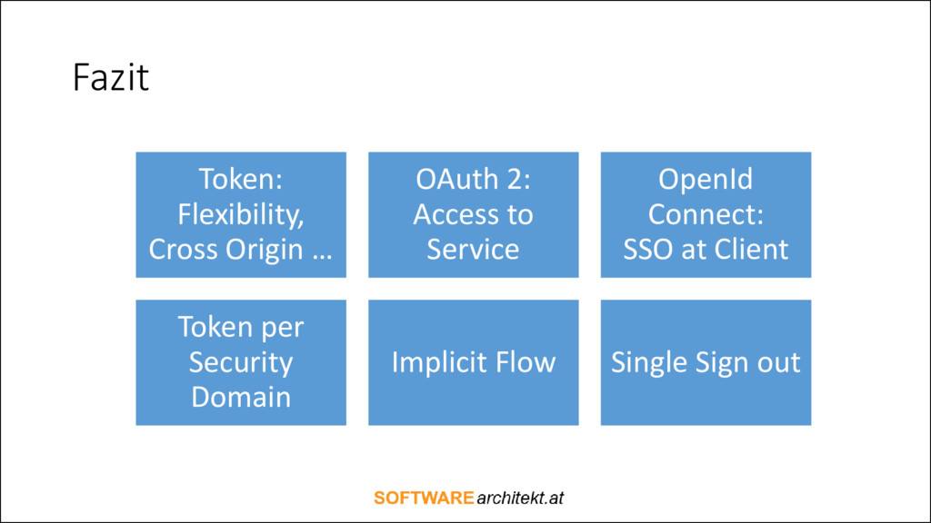 Fazit Token: Flexibility, Cross Origin … OAuth ...