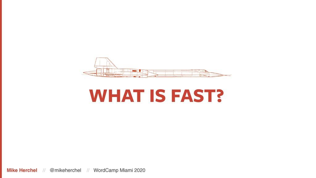 WHAT IS FAST? Mike Herchel // @mikeherchel // W...