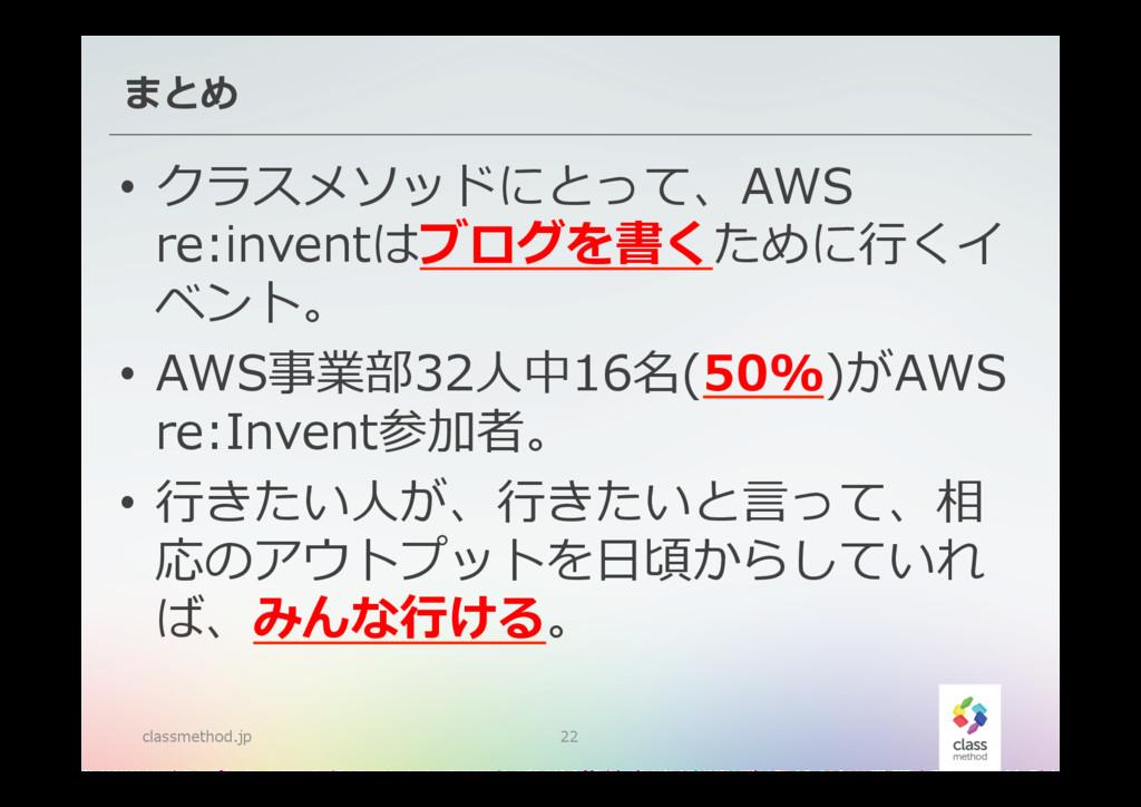 まとめ classmethod.jp 22 • クラスメソッドにとって、AWS  re:i...