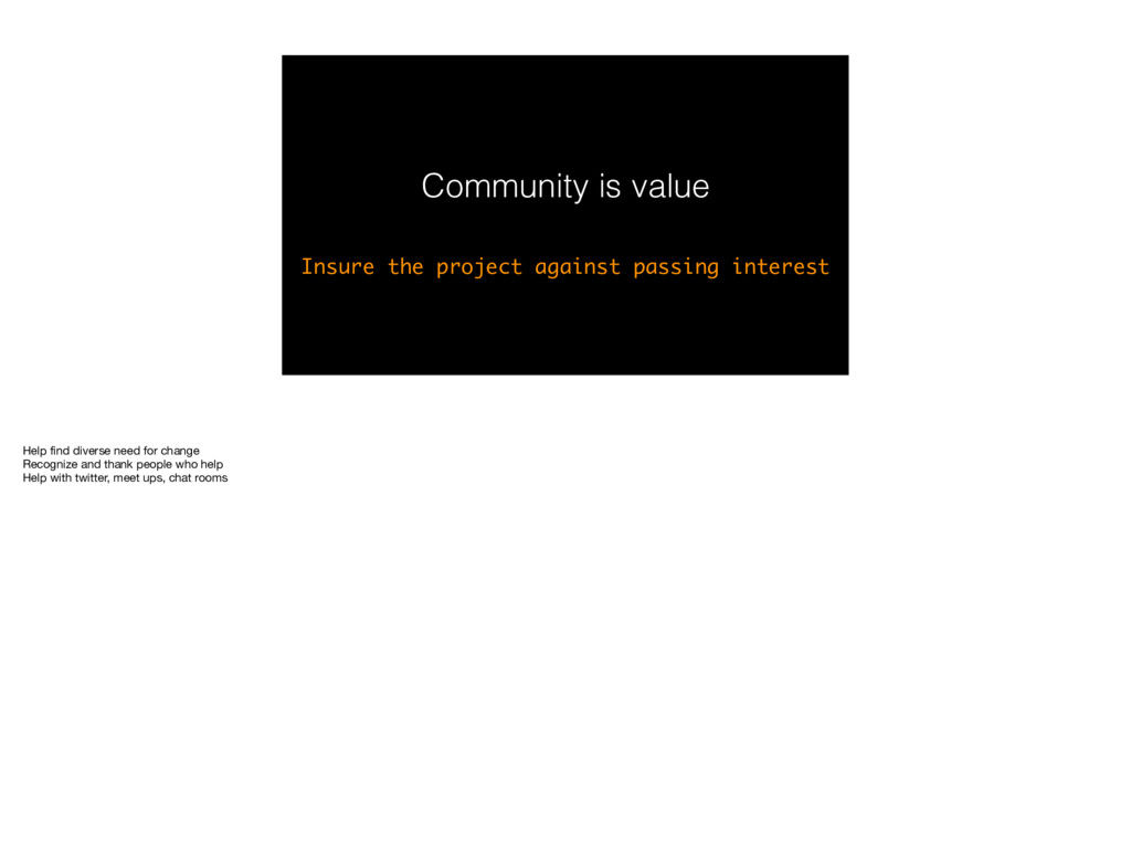 Community is value Insure the project against p...
