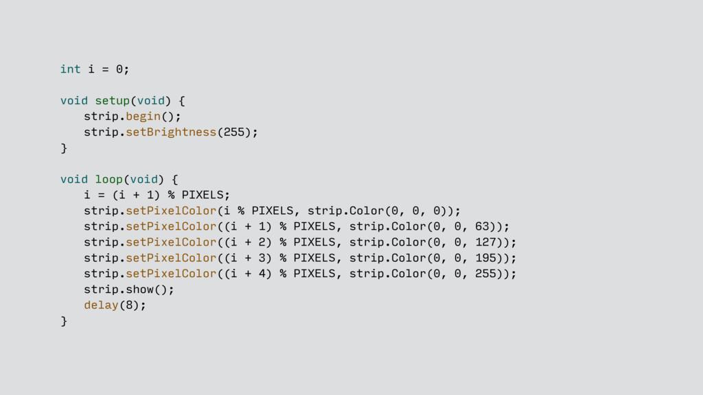 int i = 0; void setup(void) { strip.begin(); st...
