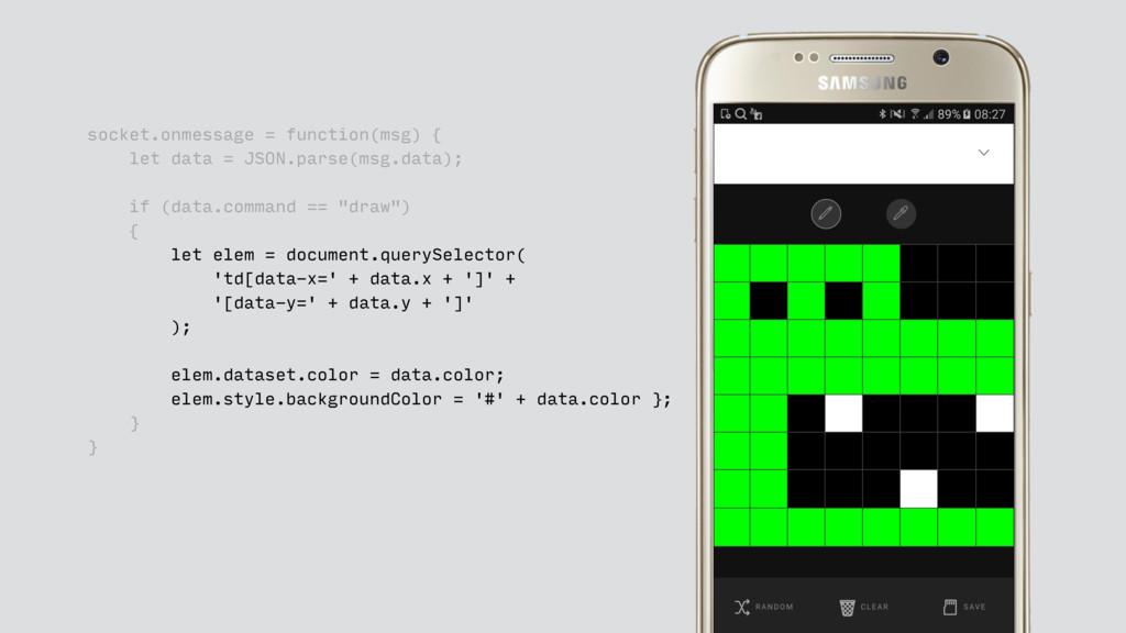 socket.onmessage = function(msg) { let data = J...