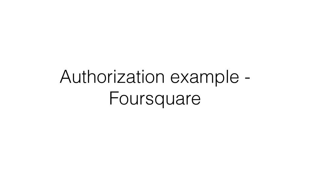 Authorization example - Foursquare