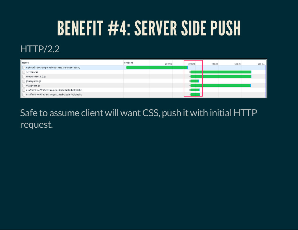 BENEFIT #4: SERVER SIDE PUSH HTTP/2.2 Safe to a...