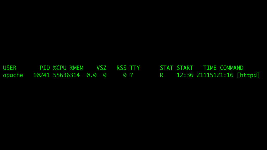 USER PID %CPU %MEM VSZ RSS TTY STAT START TIME ...