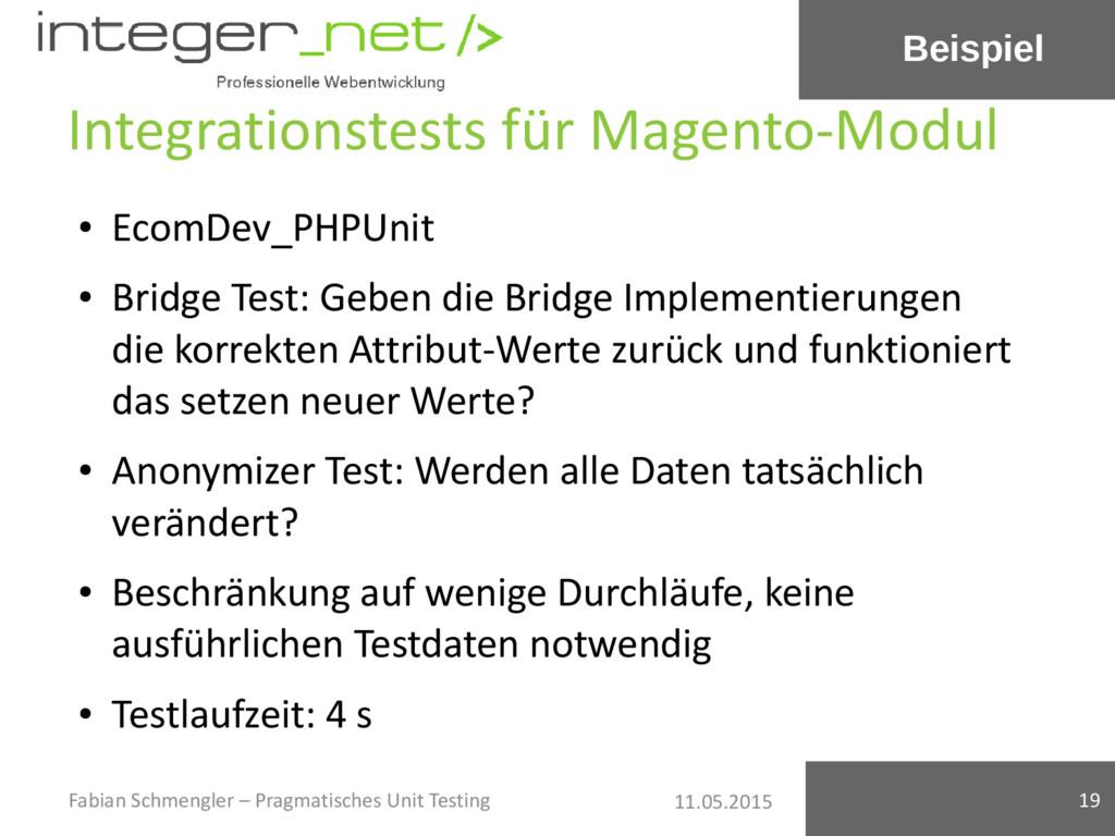 11.05.2015 Integrationstests für Magento-Modul ...