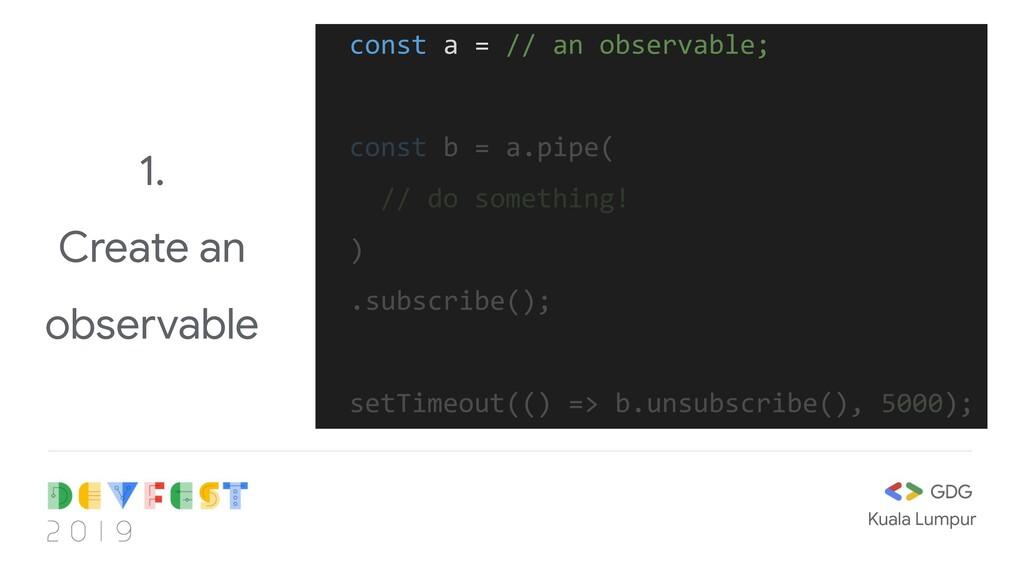 Kuala Lumpur 1. Create an observable const a = ...