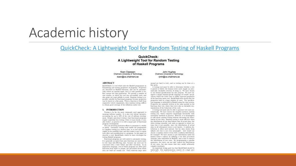 Academic history QuickCheck: A Lightweight Tool...