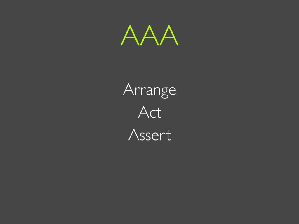 Arrange Act Assert AAA