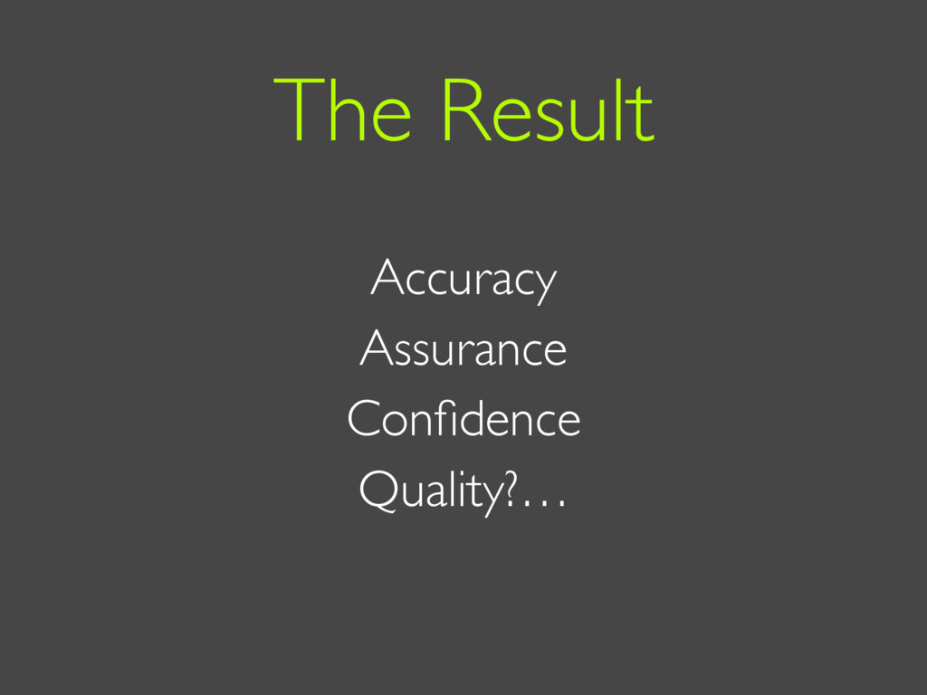 Accuracy Assurance Confidence Quality?… The Resu...