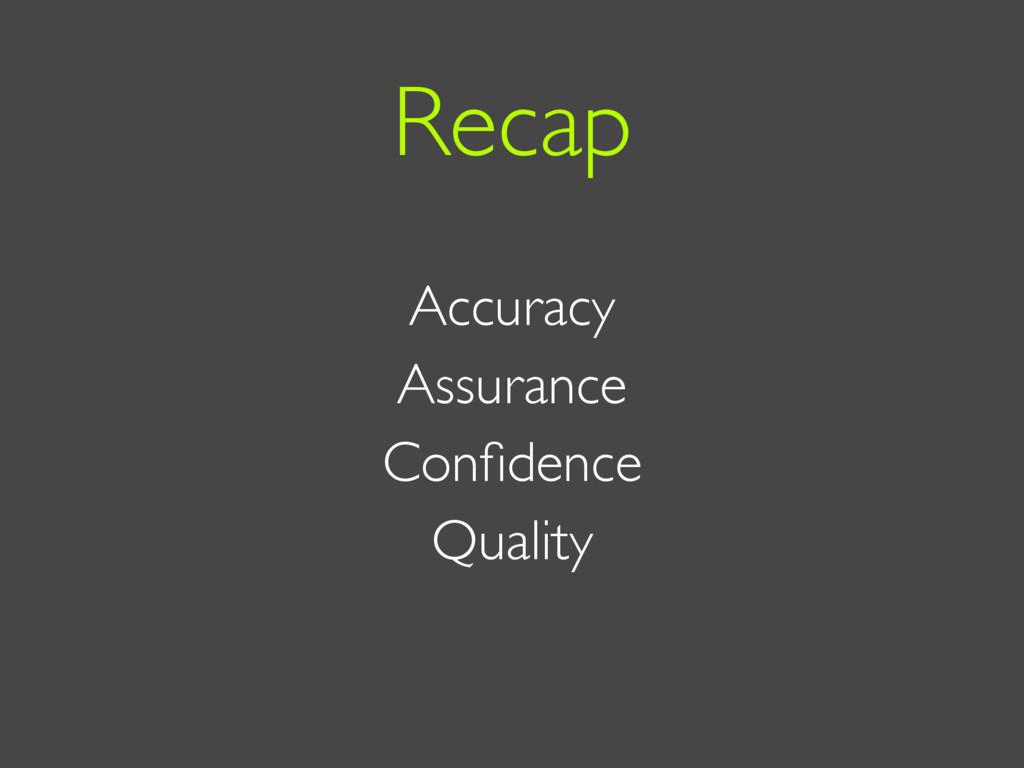 Accuracy Assurance Confidence Quality Recap