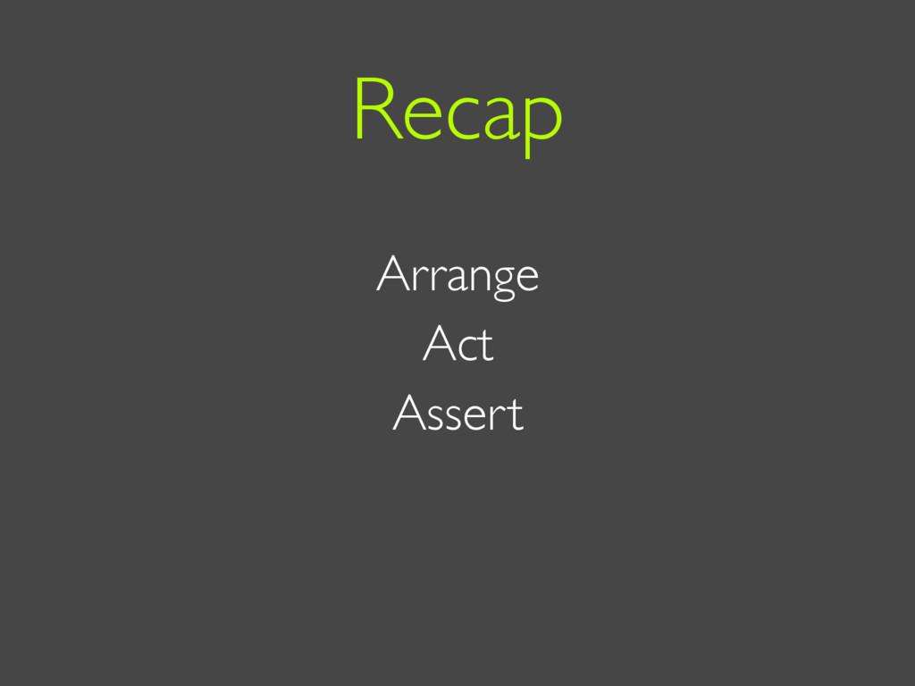 Arrange Act Assert Recap