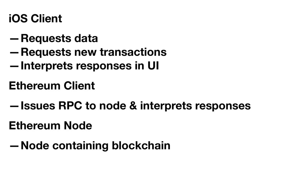 iOS Client —Requests data —Requests new transac...