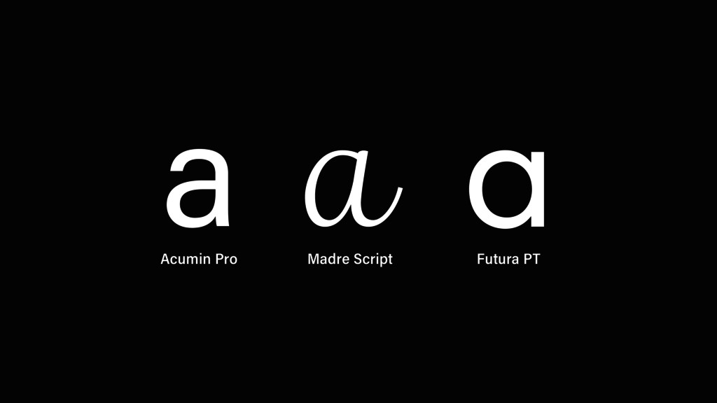 a a a Acumin Pro Madre Script Futura PT