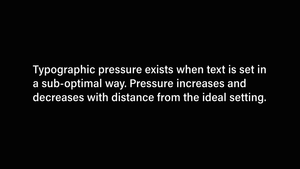 Typographic pressure exists when text is set in...