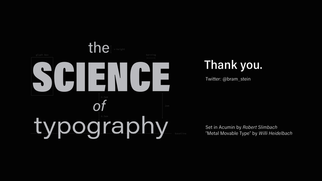 the SCIENCE typography of 2em glyph box 0.5em 0...