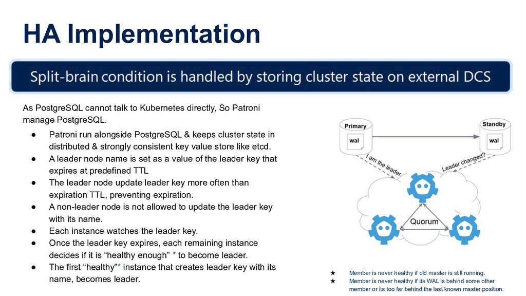 HA Implementation As PostgreSQL cannot talk to ...