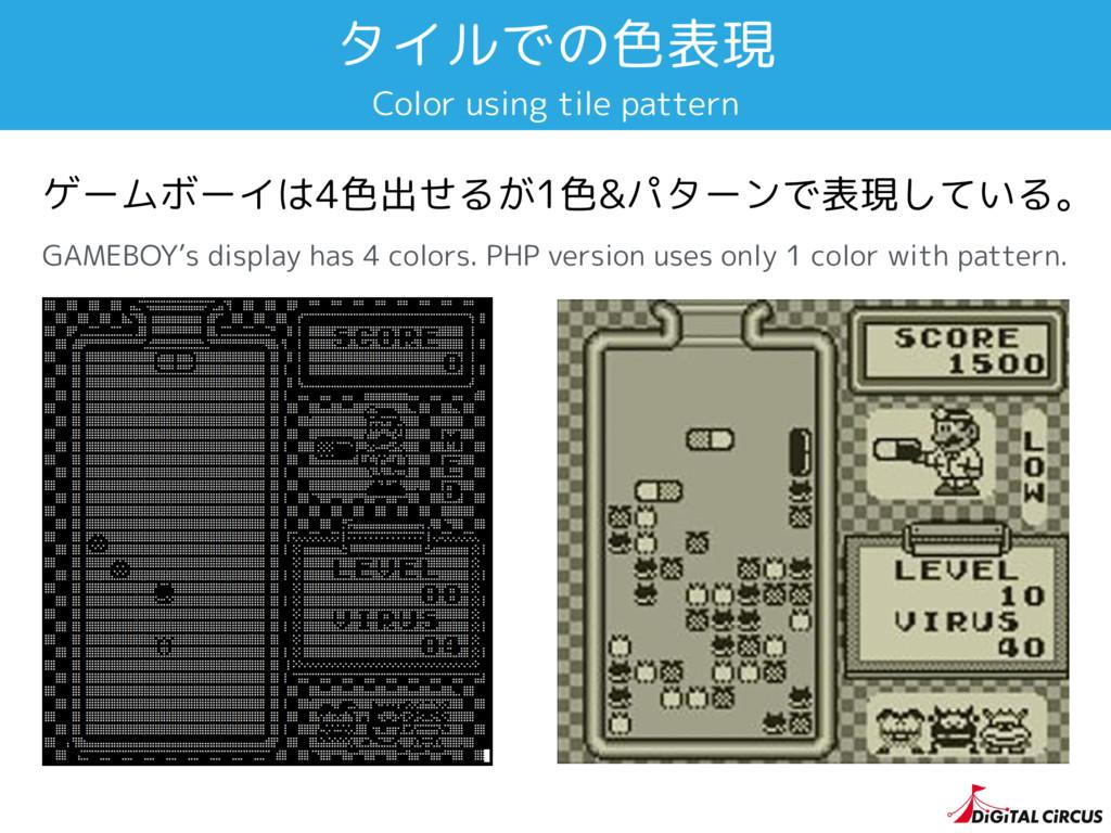 タイルでの色表現 ゲームボーイは4色出せるが1色&パターンで表現している。 GAMEBOY's...