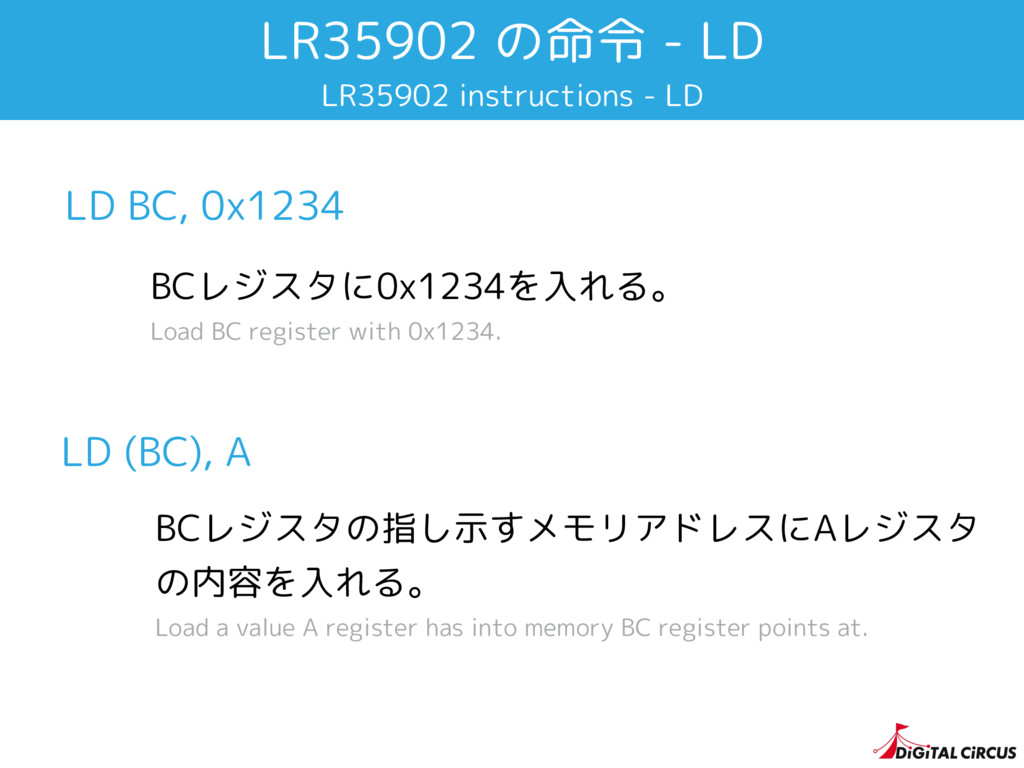LR35902 の命令 - LD LR35902 instructions - LD LD B...