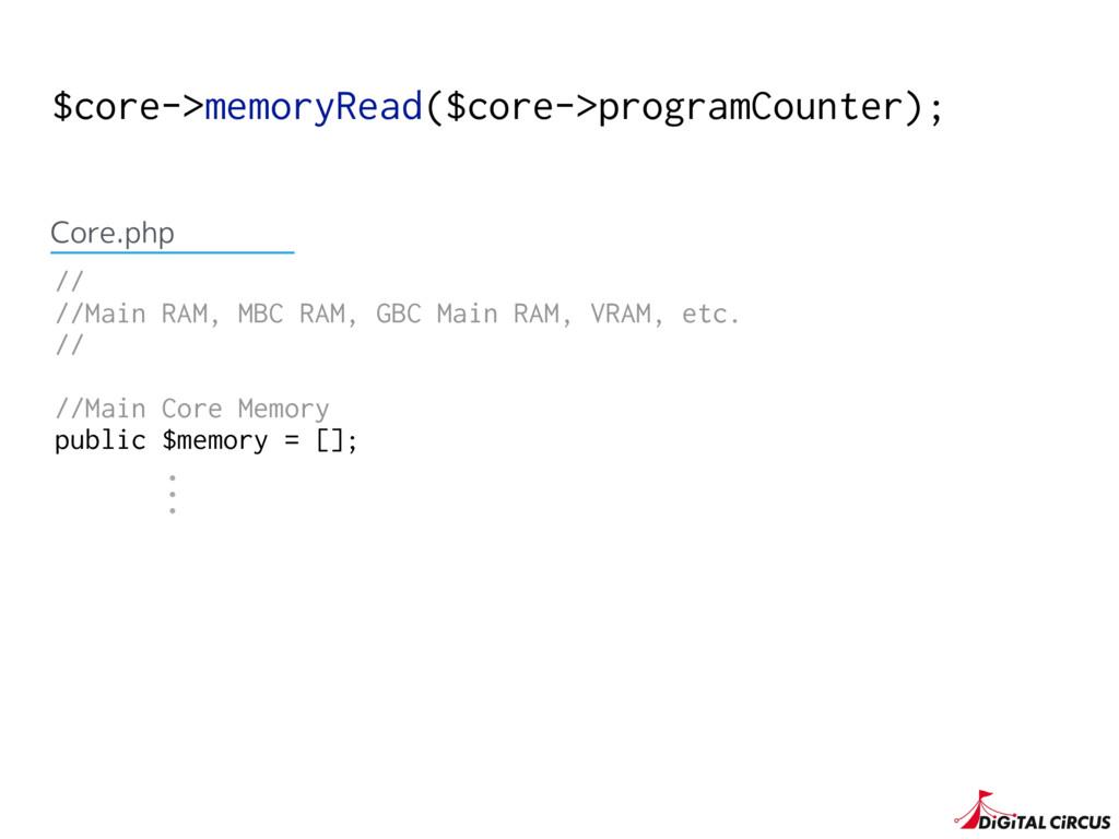 $core->memoryRead($core->programCounter); // //...