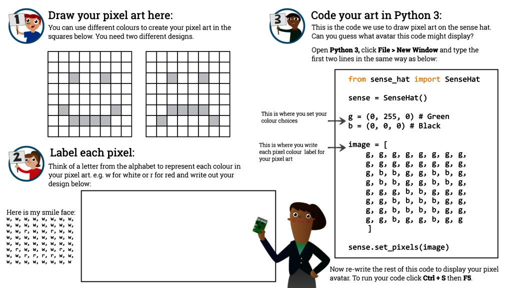 Draw your pixel art here: from sense_hat ...