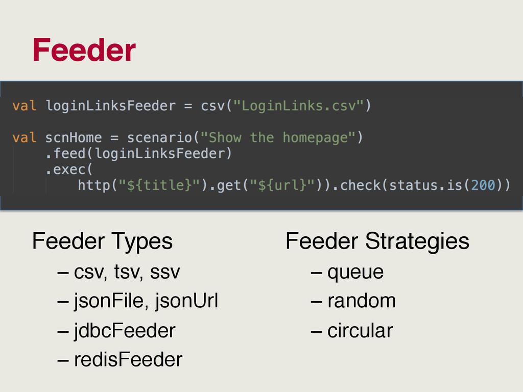 Feeder Feeder Types –csv, tsv, ssv –jsonFile,...