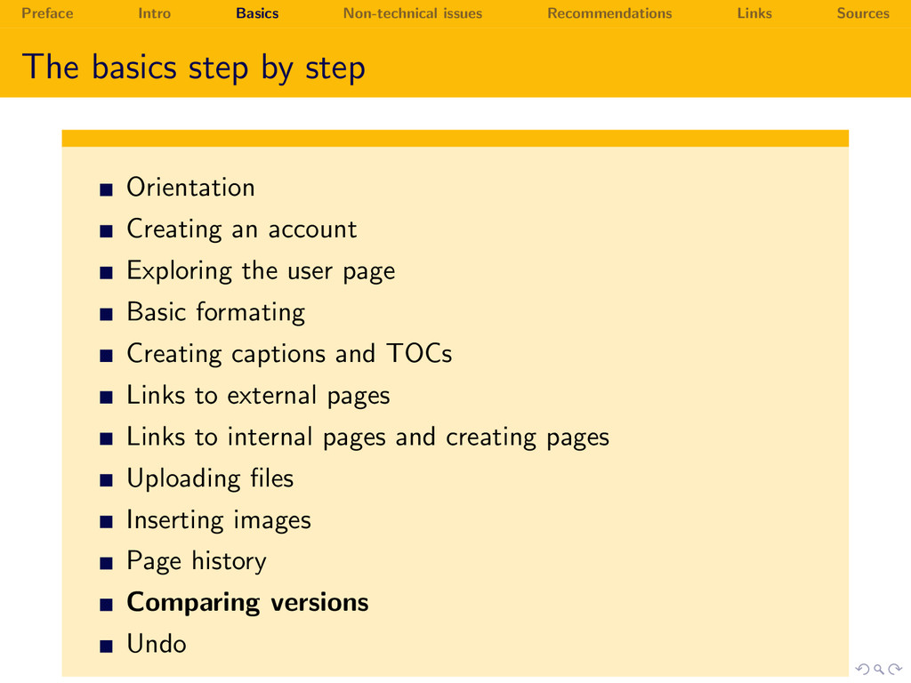 Preface Intro Basics Non-technical issues Recom...