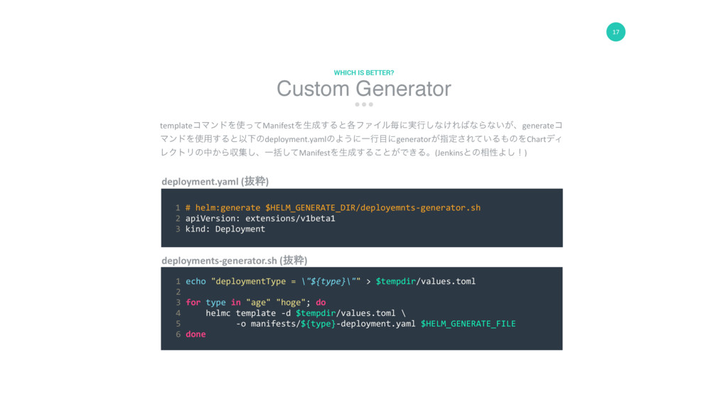 17 Custom Generator WHICH IS BETTER? deployment...
