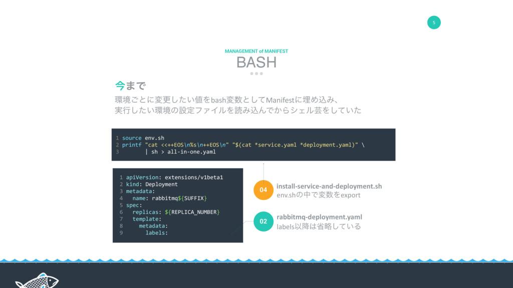 5 BASH MANAGEMENT of MANIFEST 1 source env.sh 2...