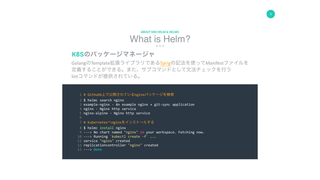 8 What is Helm? ABOUT K8S HELM & HELMC GolangͷT...