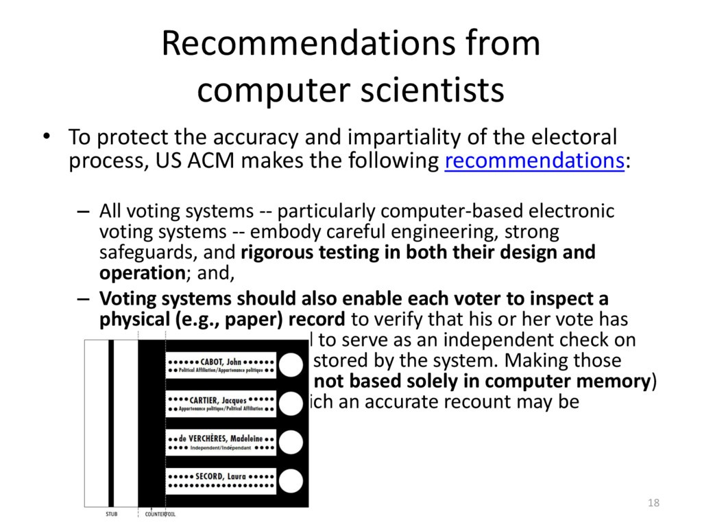 Recommendations from computer scientists 18 • T...