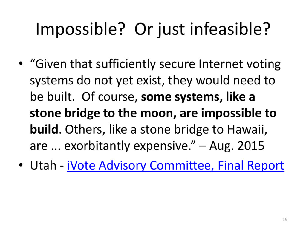 """Impossible? Or just infeasible? • """"Given that s..."""