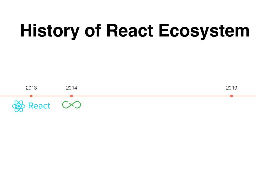 History of React Ecosystem 2013 2019 2014