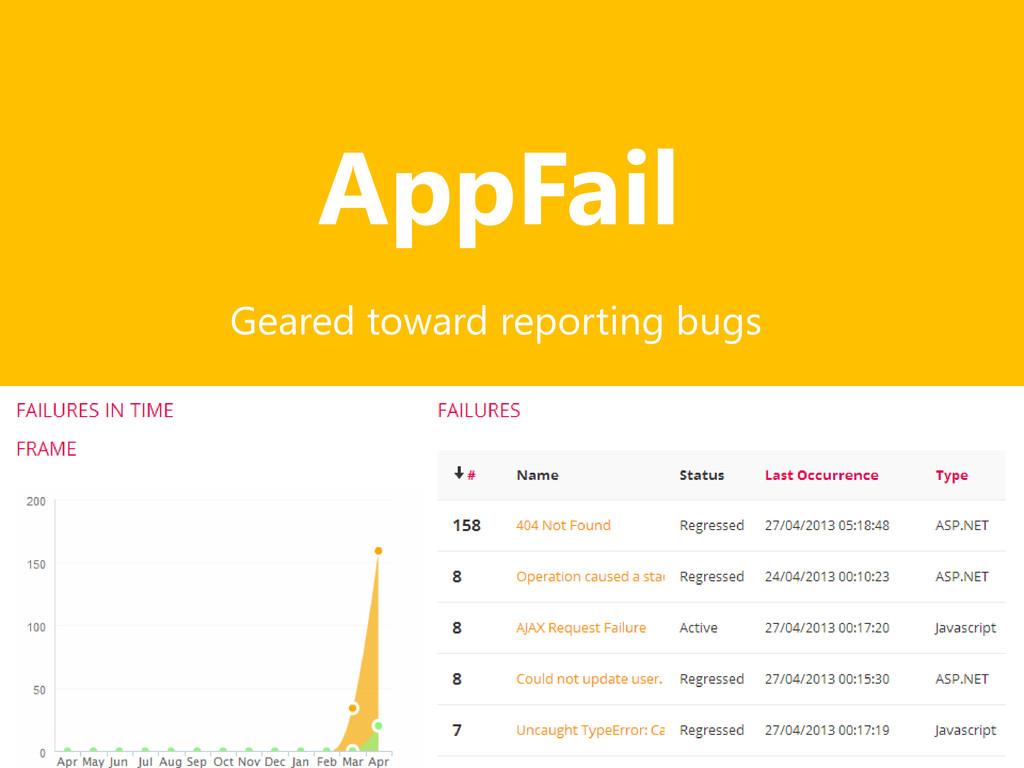 AppFail Geared toward reporting bugs