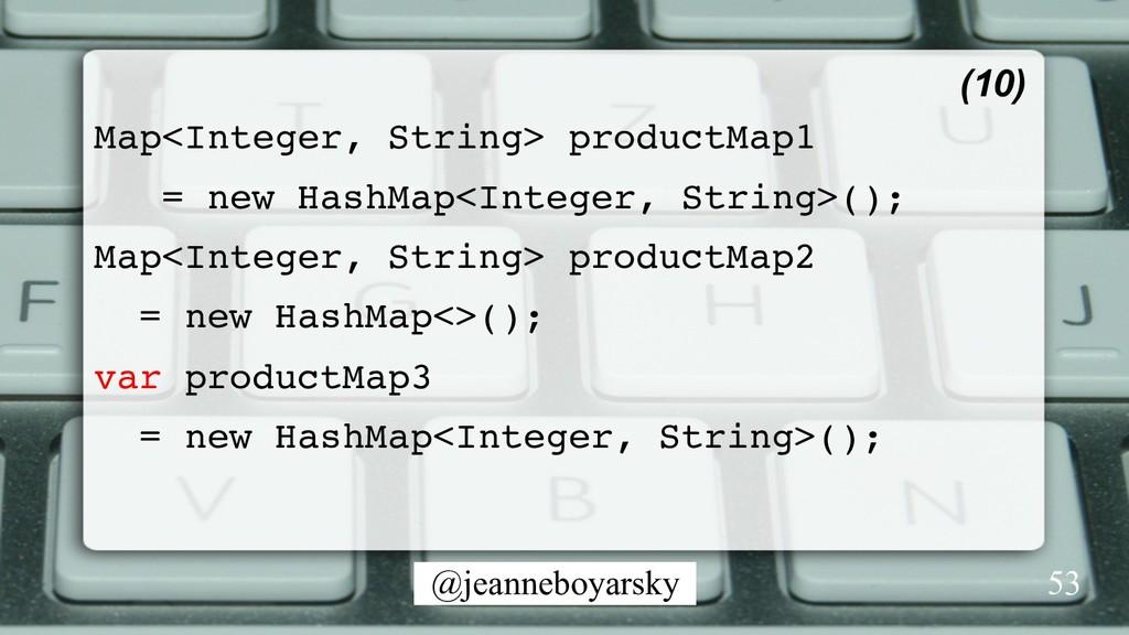 @jeanneboyarsky Map<Integer, String> productMap...