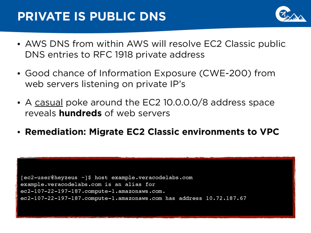 • AWS DNS from within AWS will resolve EC2 Clas...