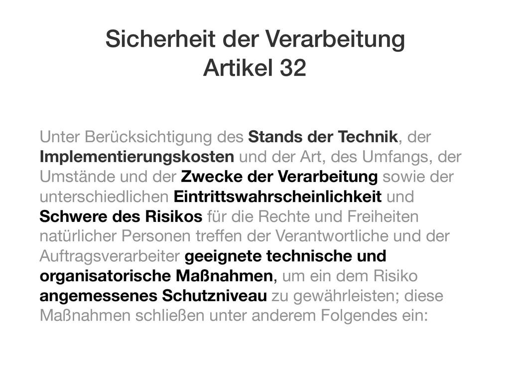 Sicherheit der Verarbeitung Artikel 32 Unter Be...