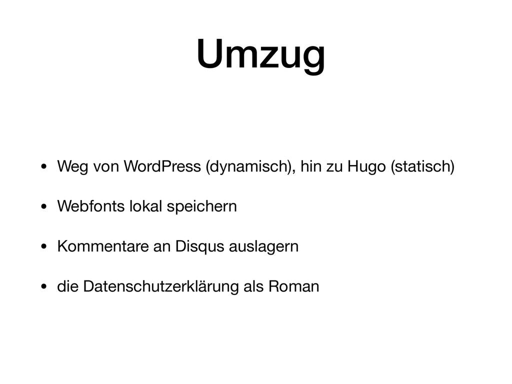 Umzug • Weg von WordPress (dynamisch), hin zu H...
