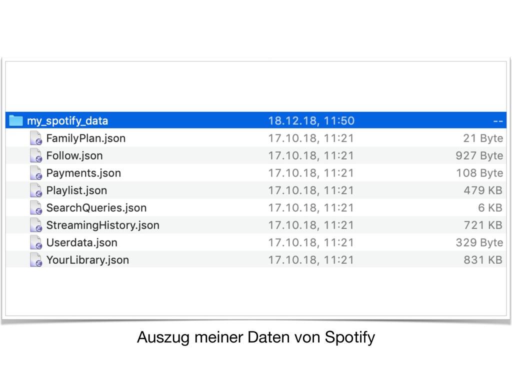 Auszug meiner Daten von Spotify