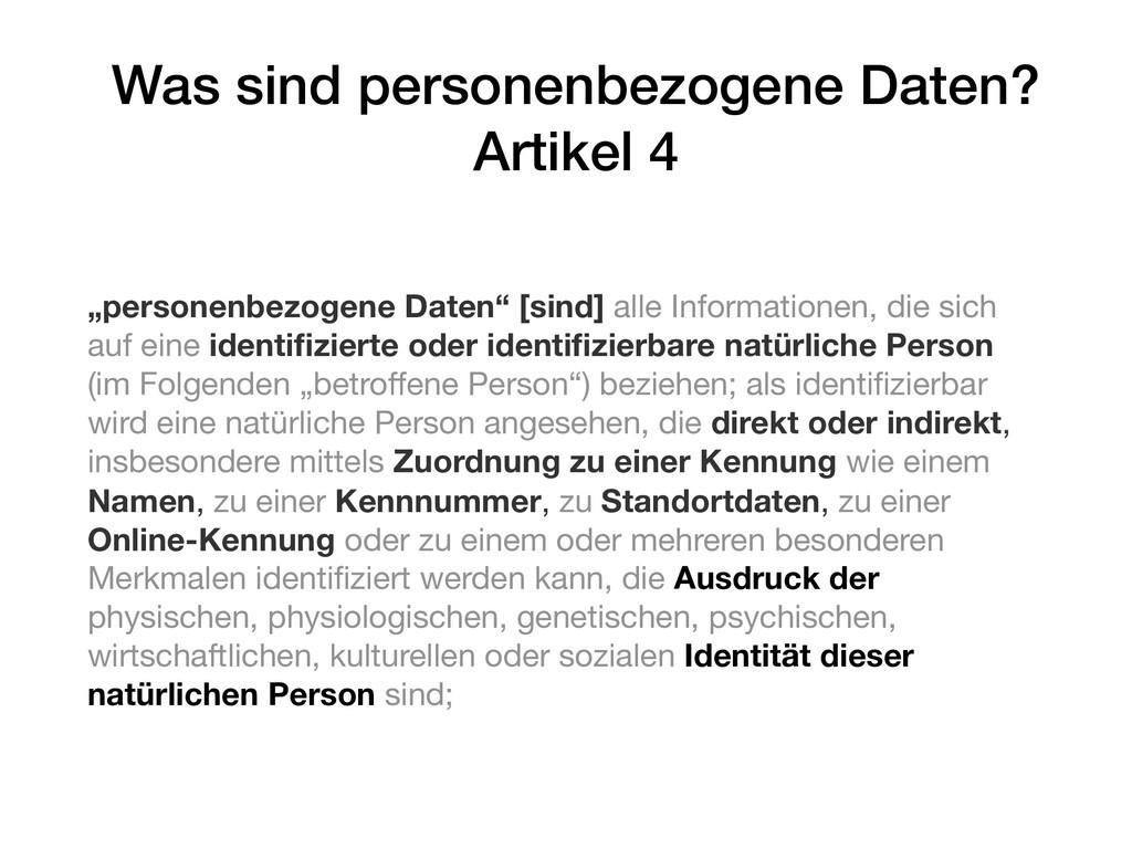 """Was sind personenbezogene Daten? Artikel 4 """"per..."""