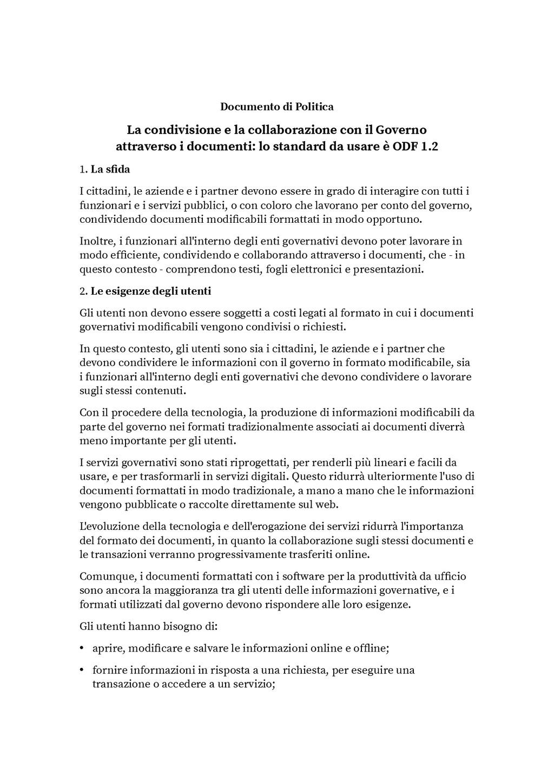 Documento di Politica La condivisione e la coll...