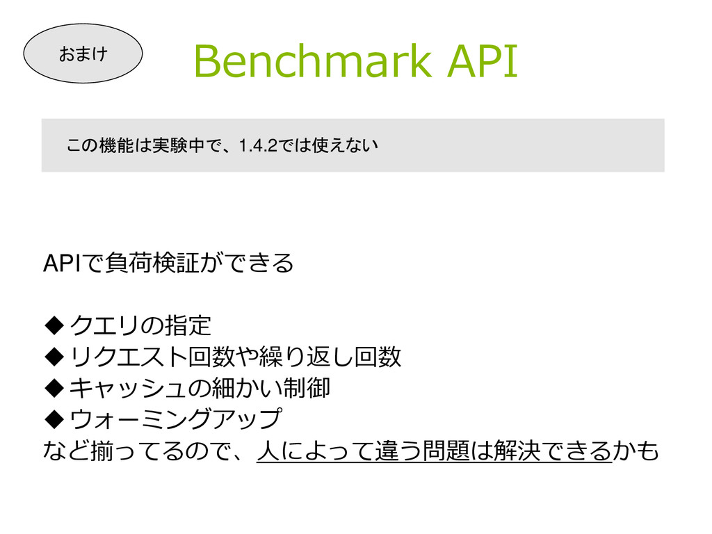 Benchmark API APIで負荷検証ができる クエリの指定 リクエスト回数や繰り返...