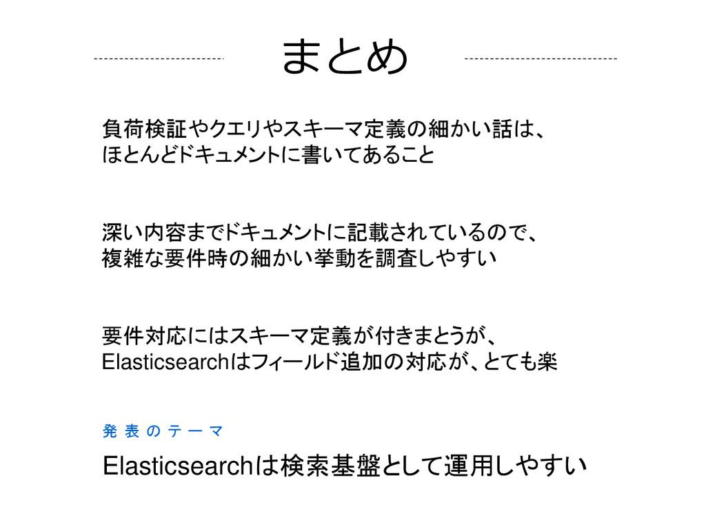 発 表 の テ ー マ Elasticsearchは検索基盤として運用しやすい 負荷検証やクエ...