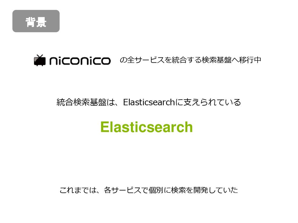 の全サービスを統合する検索基盤へ移行中 統合検索基盤は、Elasticsearchに支えられて...