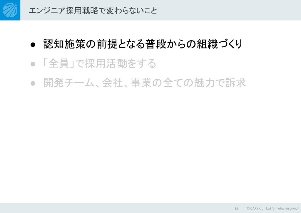 ©iCARE Co., Ltd All rights reserved エンジニア採用戦略で変...